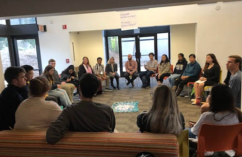 Students and others sit in a circle as they participate in one of UC San Diego's communication seminars (Center for Student Involvement - Communication & Leadership)
