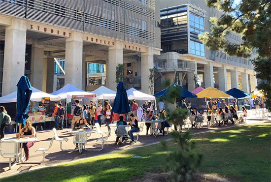 UC San Diego Farmers' Market - photo of tents and patrons in front of the Student Services Center