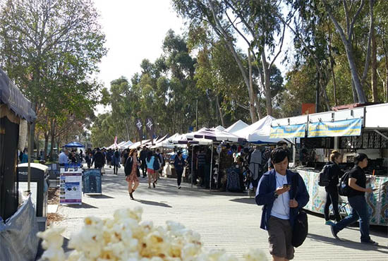 UC San Diego's vendor fair tents along Library Walk - with kettlecorn in the foreground ;-p
