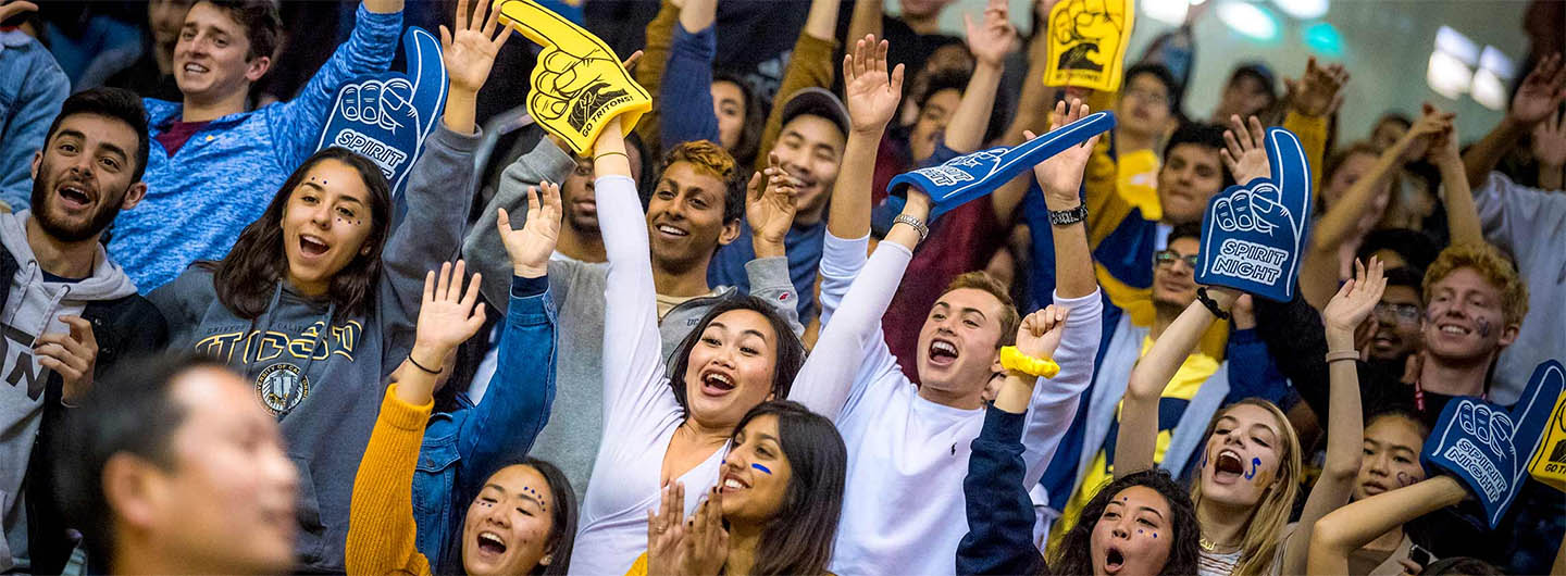 UC San Diego students sport blue-and-gold foam fingers on Triton Spirit Night
