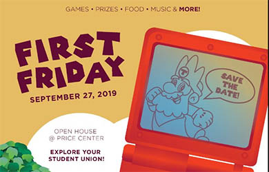 UC San Diego - illustration with Etch a Sketch toy and text - Save the Date! First Friday, September 27, 2019