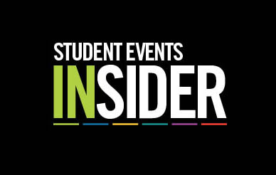 UC San Diego - logo of the Student Events Insider - colorful type on black background